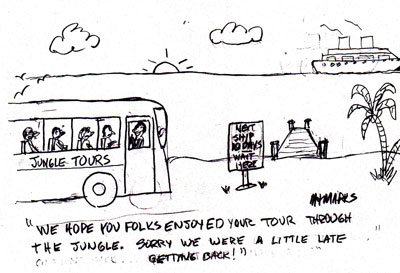 Tour bus missed the ship