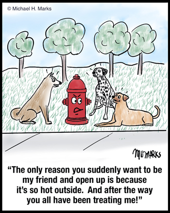 Friends with fire hydrant